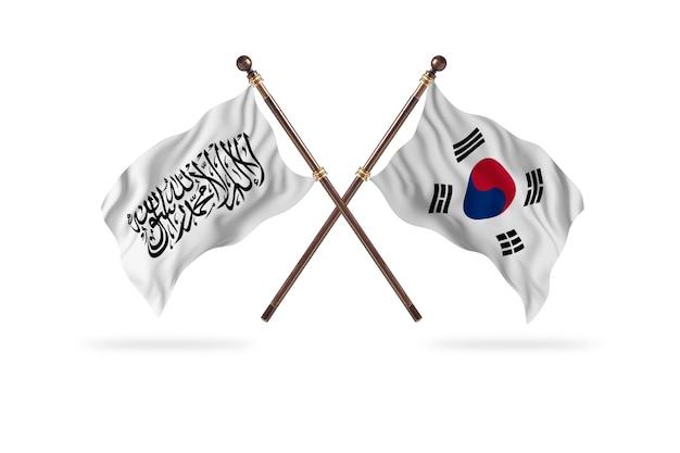 アフガニスタンイスラム首長国対韓国2つの旗の背景