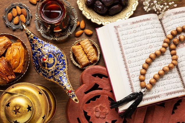 Islamic new year food with praying beads