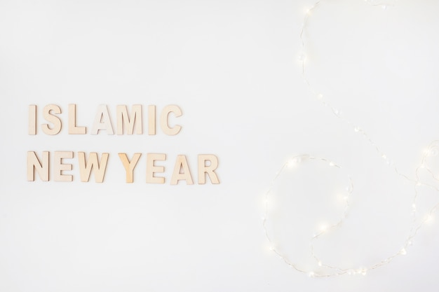 Islamic new year inscription and garland