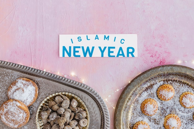 Islamic new year words and different sweets