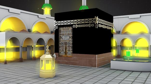 Исламское паломничество в мекку ид адха мубарак реалистичная исламская мечеть кааба 01
