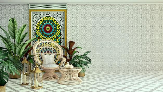 Интерьер в исламском стиле, стул из ротанга и растение