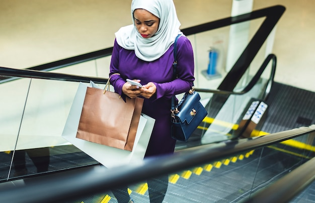 Islamic woman shopping at the mall