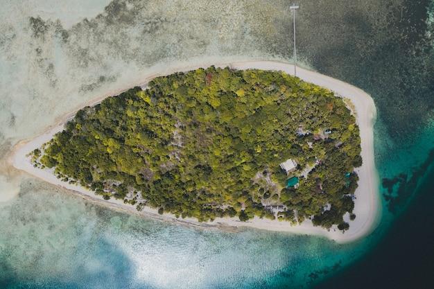海に囲まれた木々や植物に覆われた島