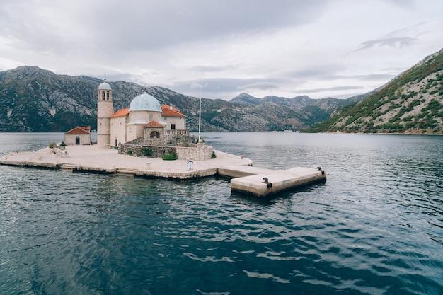 The island of gospa od skrpjela kotor bay montenegro aerial s