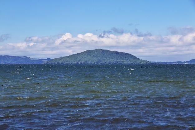 Остров в озере роторуа, новая зеландия