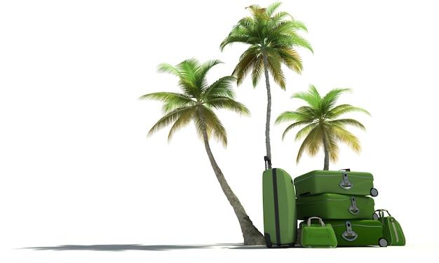Островная композиция с тропической растительностью и красивым зеленым багажом