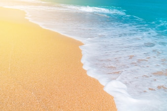 Island ocean, fine sand beach and wave of blue sea