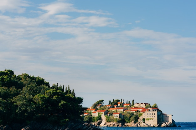 Island of sveti stefan closeup of the island in the afternoon