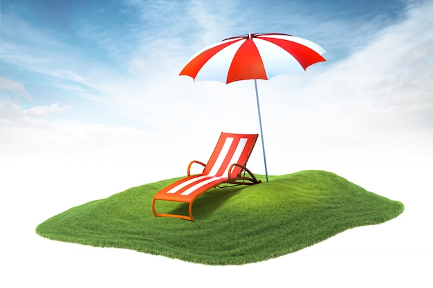 Island with deckchair and sun umbrella floating in the air on sky background