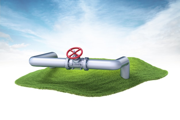 Island with gas, water or oil pipelines floating in the air on sky background