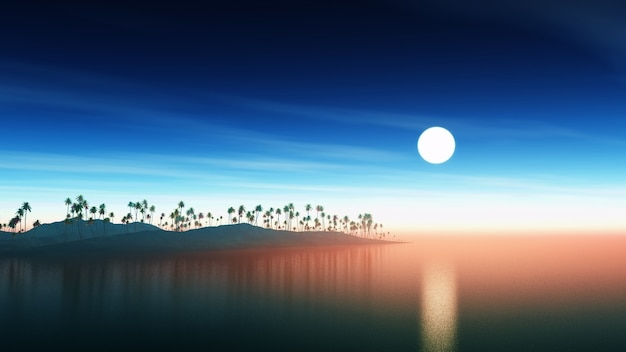 Island with palm trees at sunset