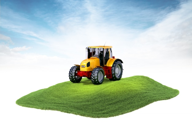 Island with tractor floating in the air on sky background