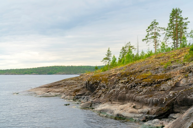 Islands in lake ladoga. beautiful landscape - water, pines and boulders.