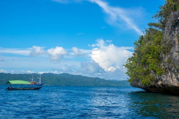 インドネシアの島々。ラジャアンパット。熱帯植物や遊覧船が生い茂る岩だらけの島の端