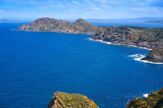 Islas cies islands aerial in vigo of galicia spain