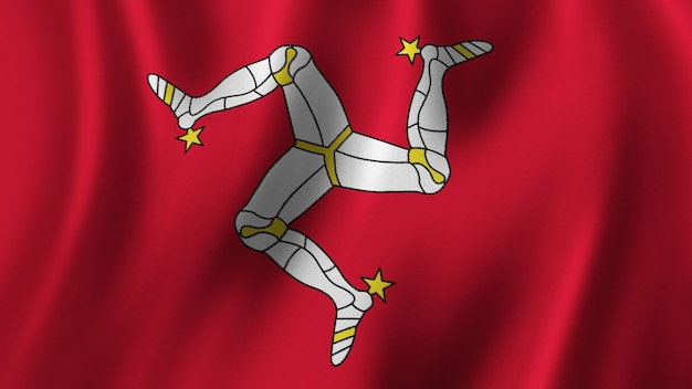 Isle of man flag waving closeup 3d rendering with highquality image with fabric texture