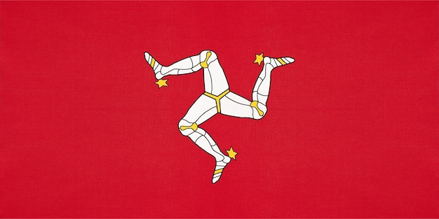Isle of man national fabric flag, textile background. symbol of great britain international world country.