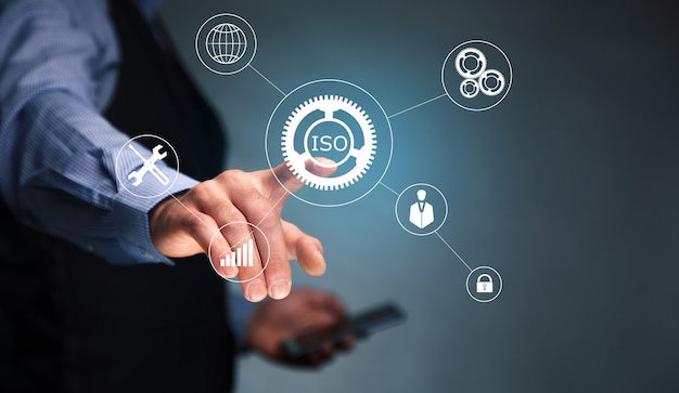 Iso concept with man holding a smart phone