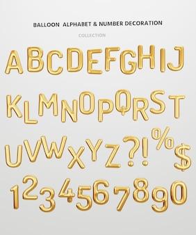 メリークリスマス、明けましておめでとう、バレンタインデー、誕生日のお祝いパーティーを3dレンダリングで飾るために、白い背景の上の金属の金色の英語のアルファベット文字と数字のバルーンを分離します。