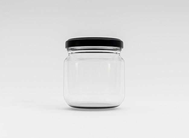3dレンダリングによって白い背景に黒いカバーと透明なガラスの閉じた瓶を分離します。