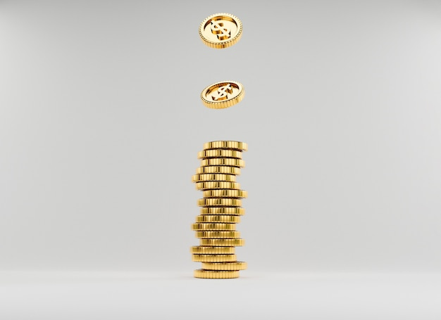 Isolate us dollar coins dropping to golden coins stacking on white background for investment and banking financial saving deposit concept by 3d rendering.