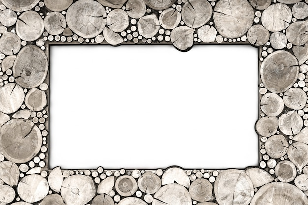 Isolate wooden frame from the wood cuts gray.
