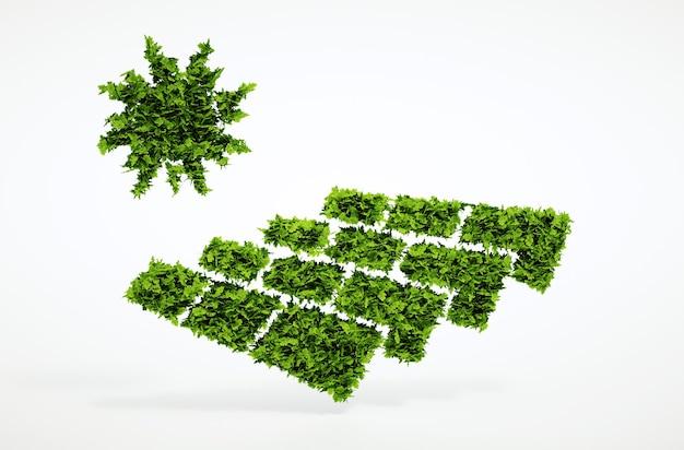 Изолированные 3d визуализации концепция фотоэлектрической энергии экологии с белым фоном