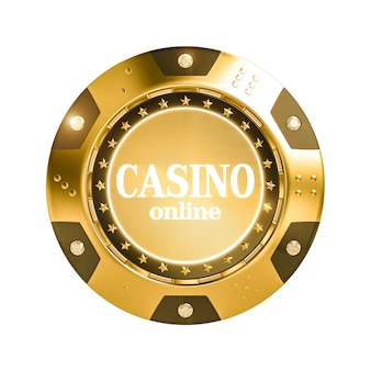 Isolated 3d render golden casino chip with diamond.