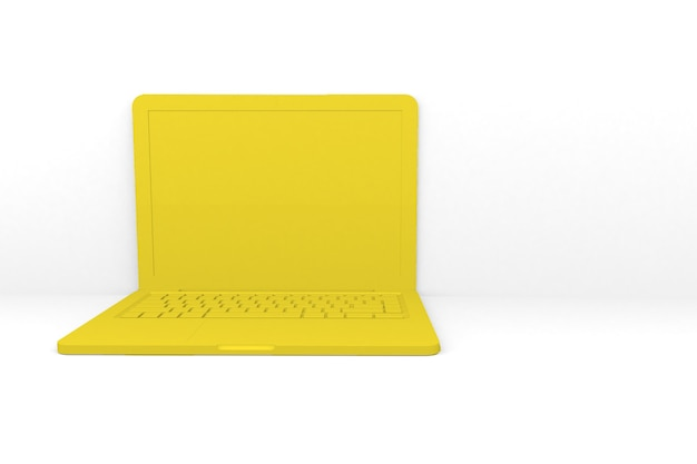 分離された3dレンダリングラップトップコンピューター。黄色、白い背景