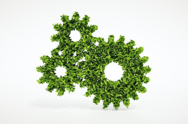 分離された3dレンダリング自然な葉の歯車のシンボルと白い背景