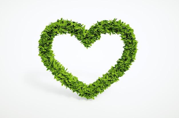 Изолированные 3d визуализации естественный лист сердце символ с белым фоном