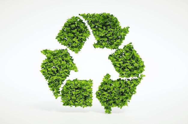 分離された3dレンダリング自然の葉のリサイクルシンボルと白い背景
