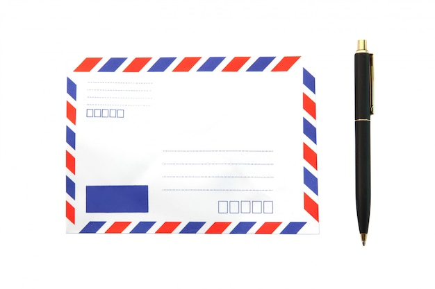 Isolated air mail envelope with pen