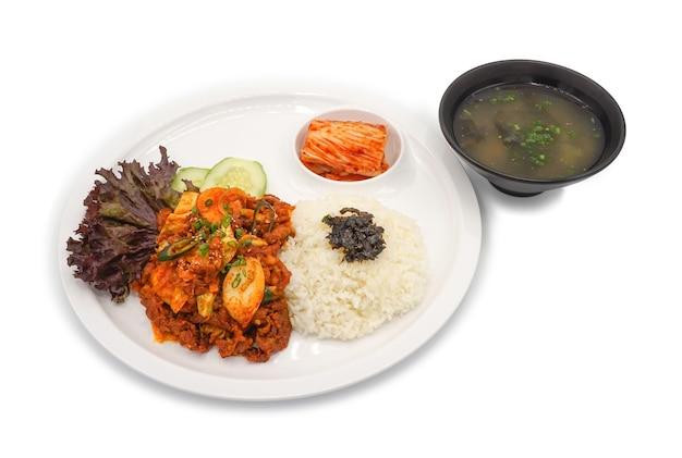 孤立したアジア-韓国料理ランチセット