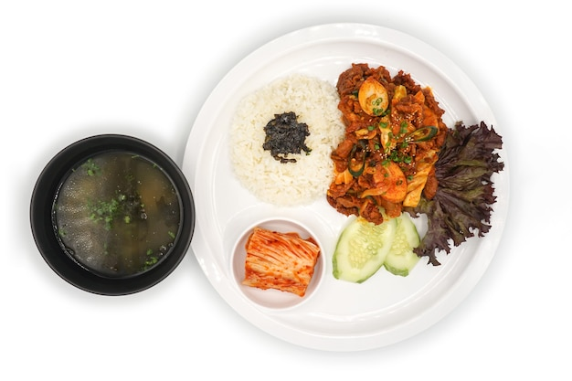 격리 된 아시아-한국 음식 점심 세트