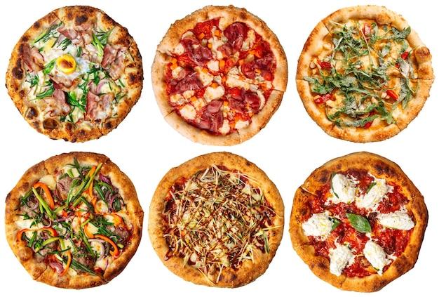 Изолированные ассорти из свежей запеченной пиццы меню коллаж