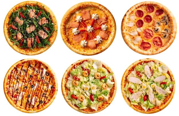 흰색 배경에 피자 콜라주 메뉴 디자인의 모듬 다양한 격리