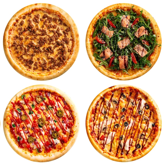 Isolated assorted variety of pizzas collage menu design on the white background