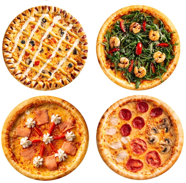 Isolated assorted variety of pizzas collage menu design