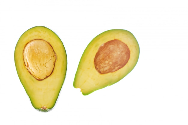 Isolated avocado with two halves