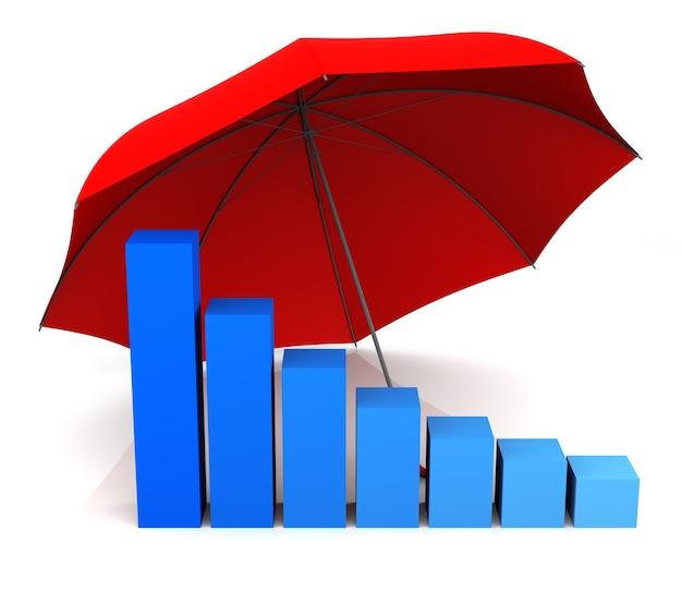 孤立した棒グラフと傘。 3dレンダリング