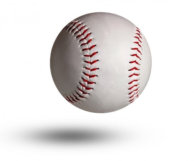 Isolated baseball on white and red stitching.
