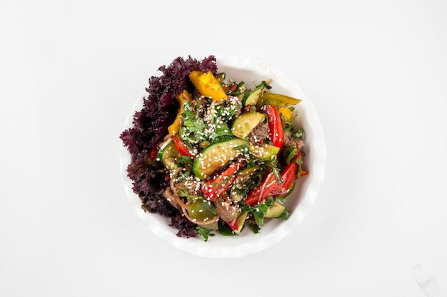Isolated beef and vegetables salad