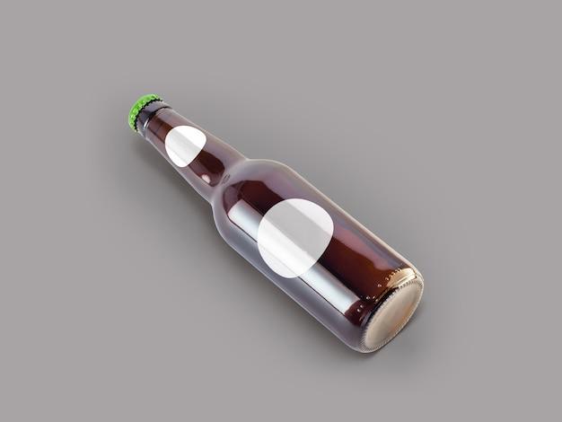 孤立したビール瓶のモックアップ-空白のラベル、オクトーバーフェストのコンセプト。