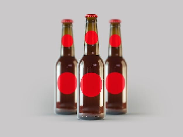 격리 된 맥주 병 모형 - 빈 레이블, 옥토버 페스트 개념. 프리미엄 사진