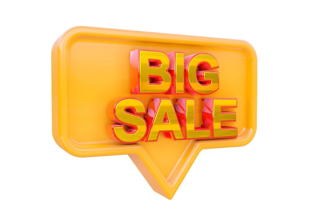 Isolated big sale promotional stamp design. banner of marketing campaigns for stores and shopping. 3d rendering