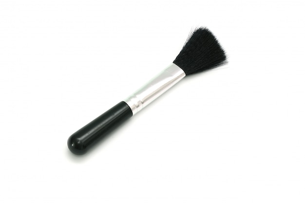 Isolated black cleaning brush closeup