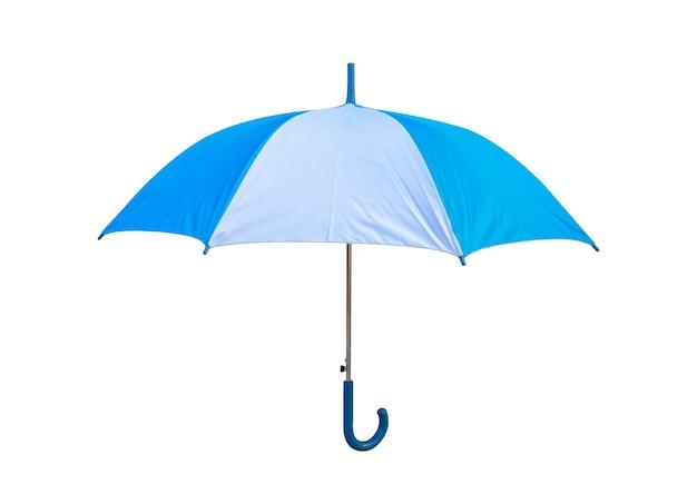 クリッピングパスと白い背景の上の孤立した青と白の傘