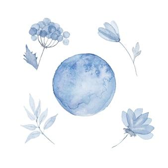 Изолированные синие акварельные элементы всплеск цветов ручная роспись набор